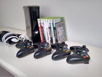 XBox 360 slim 250Gb + 4 controllers + 8 games (GTA V, Red Dead Redemption, Portal 2, Halo Reach)
