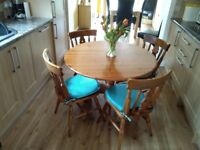 Pine Table and Chairs + Seat Pads