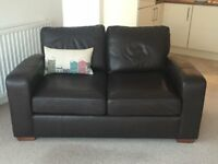 Dark Brown Leather Sofa - Immaculate Condition
