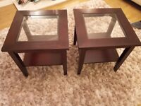 2x mahogany with glass side tables