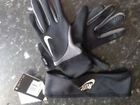 NIKE RUNNING GLOVES AND HEADBAND (brand new, unused)