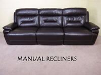 'INVINCIBLE' LARGE 4 SEATER MANUAL RECLINER EX SCS ENDURANCE LEATHER EXCELLENT