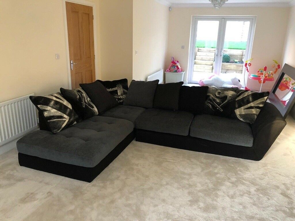 Sofology Black Corner Sofa And Spinning Cuddle Chair For Sale Very