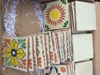 Mexican tiles cream and patterned, 10x10cm, 55 in total to cover approx 0.55 sq m