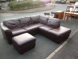 Brown leather corner unit & footstool