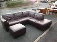 Brown leather corner unit & footstool