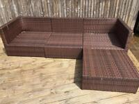 Rattan brown garden set