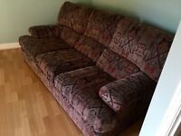Three seater settee and arm chair