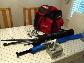 Beach casting fishing rod, reel and gear.