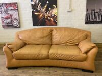 HARVEYS DESIGNER TAN LEATHER SOFA IN NICE CONDITION + BARGAIN FREE DELIVERY