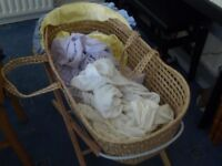 Moses Basket, stand and bedding (No mattress)