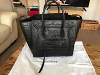 Authentic Celine Black Croc Leather Large Square Phantom Luggage Tote Bag