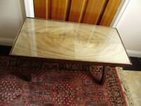Table / Coffee table, antique, solid wallnut, protective glass plate on top, VGC, very unique