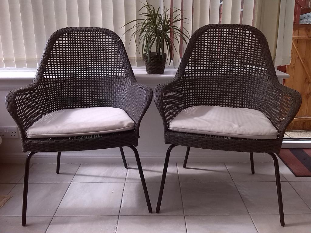 two ikea 39 ammero 39 rattan armchairs with seat pads ideal for conservatory or patio use in. Black Bedroom Furniture Sets. Home Design Ideas