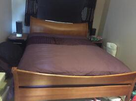 King size wooden bed with new mattress
