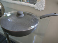 NEW DURASTONE WOK/PAN LARGE WITH GLASS LID. NEEDS NO OIL/BUTTER