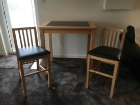 Marble Top High Table and 2 chairs