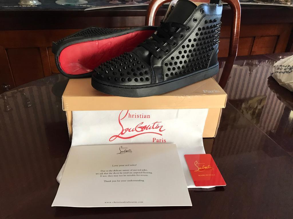 7702a8f3c776 ... clearance christian louboutin black leather trainers all sizes brand  new mens shoes spikes e27b5 bce1b