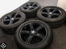 "17"" GENUINE BMW 5 SERIES ALLOY WHEELS WITH TYRES - CRYSTAL BLACK"