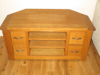 Corner TV cabinet with 4 drawers, solid oak, Cambridge collectionfrom Next. Excellent condition