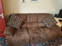 Brown swede leather sofa