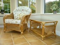 Wicker Conservatory Furniture Set + foot stool + 2 small tables.