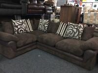NEW / Ex Display DFS Brown Cord + Half Leather Corner Sofa