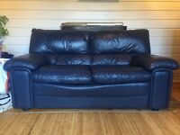 Navy blue leather sofa and matching arm chair