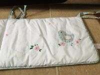 John Lewis beautiful cot bumper with lovely bird houses pattern in excellent condition