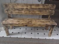 Handmade wooden childrens bench