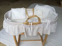 Wicker Baby Basket with Stand