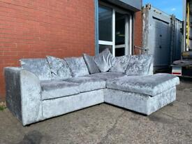 Silver crushed velvet corner sofa delivery 🚚 sofa suite couch furniture