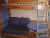 Stompa high sleeper bed with futon & desk.