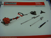 MOUNTFIELD 5 IN 1 MULTI TOOL STRIMMER, HEDGE CUTTER PRUNER SAW POWERED BY 25CC MOUNTFIELD ENGINE