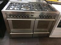 Stainless steel stove 120cm Sivan burners dual fuel cooker grill & double oven with guarantee
