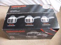 ( New ) Circulon 3-Piece Aluminium Cookware Pots Set - black