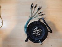 Multi-core 8 way XLR balanced mic/line cable on reel 25 metres never used