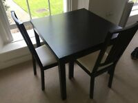 IKEA Bjursta Extenable table in Brown-Black AND 2 chairs, £100