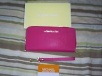 Designer Purse in Saffiano Leather Rose Pink and Blue