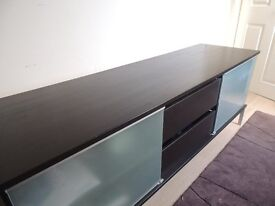 Ikea TV entertainment unit in Black wood & glass