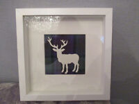 Framed Stag Made with Genuine Tartan