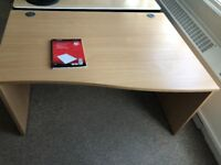 Office Desk, Beech with curve to the right. Only £30, cost over £300 brand new