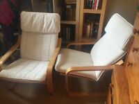 Two cream cover poang armchairs (IKEA )