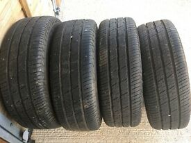 4 x 216/65/15 continental tyres and VW steel rims. Good tread on all tyres