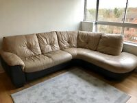 Beige and brown leather corner sofa (left side)