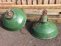 """16"""" Green Thorlux Industrial Vintage Enamel Factory Pendant Lamp!!!!!!"""