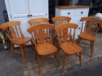 SET OF 6 KITCHEN DINING CHAIRS SOLID WOOD FARMHOUSE STYLE IN YEOVIL
