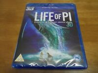 Life of Pi - 3D Blu-ray + 2D Bluray - NEW & SEALED - Amazing Adventure Movie Family Film - 4 Oscars