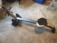 exercise rower with timer and extra grips