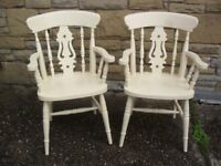 Shabby Chic Farmhouse Country Fiddle Back Carver Chairs In Farrow Ball Cream No 67